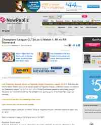 Champions League CLT20 2013 Match MI vs: NowPublic